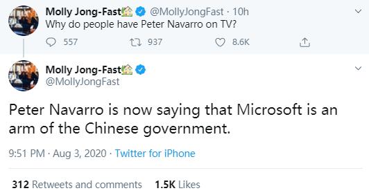 特朗普贸易顾问语出惊人:微软应该从中国撤资